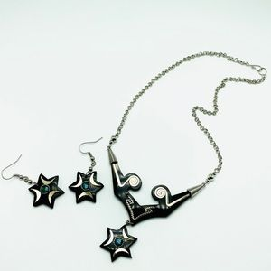 Handmade carved horn and malachite star jewelry